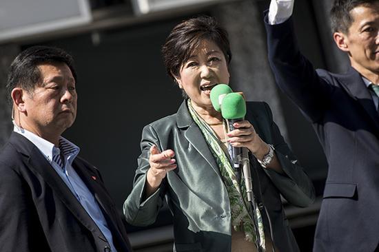 当地时间2017年10月10日,日本东京,日本希望之党党首、东京都知事小池百合子举行竞选集会。视觉中国 资料