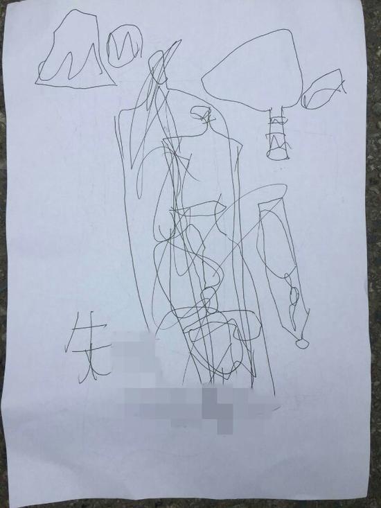孩子在画上写下自己的名字。