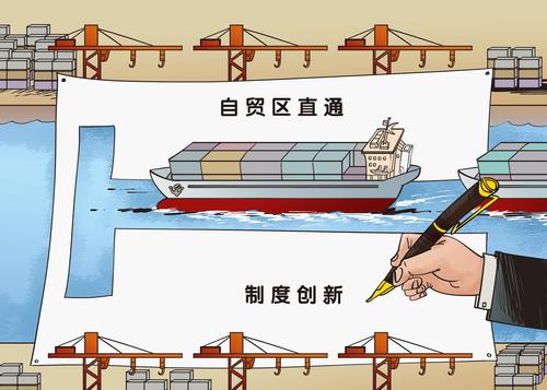 """2013年9月成立的中国(上海)自由贸易试验区,成为以制度创新深化改革的重要试验田,从那时起,""""负面清单""""一词不胫而走…… 曹一 画"""