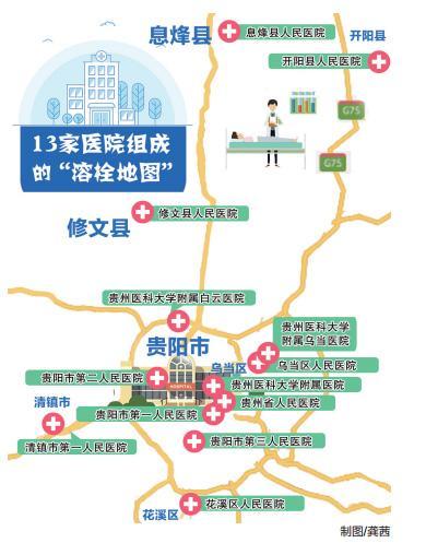 """贵阳13家病院构成的""""溶栓舆图"""" 贵州都会报 图"""