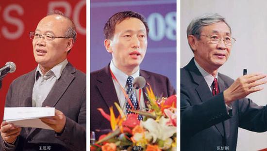 王恩哥、裴钢跟张信刚(左起)