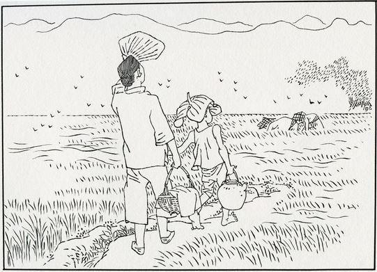 """贺友直系列作品《我来自民间》,这幅作品的自述是:""""给帮工的送点心,也是贪图能吃上一份。"""""""