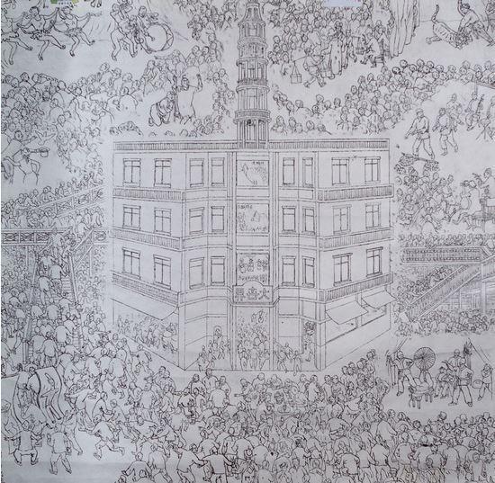 贺友直根据儿时记忆创作的《上海大世界》草图。