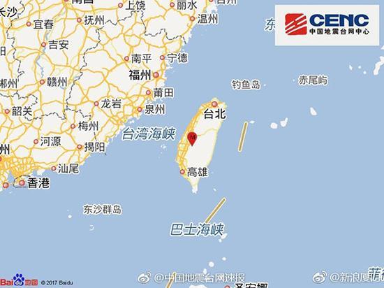 11月11日20时22分在台湾南投县(北纬23.68度,东经120.69度)发生5.1级地震。