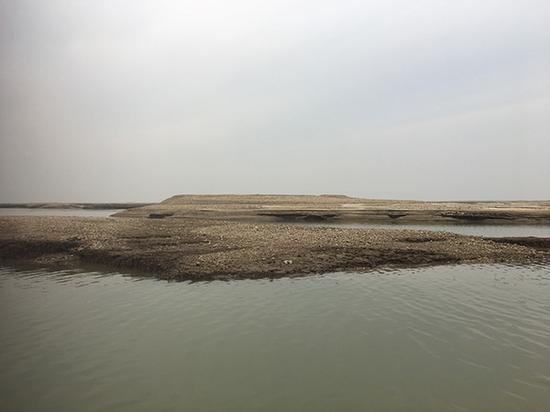 枯水期时露出水面的不长草的尾堆。 澎湃新闻记者 刘霁 摄