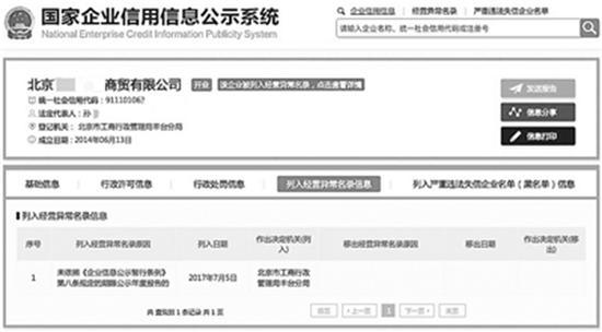 工商信息显示,目前在孙晴名下的北京公司已列入经营异常名录