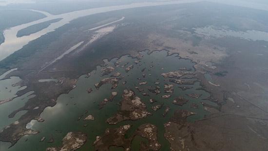 空中俯瞰,破碎支离雁子洲,岳阳市东洞庭保护协会供图