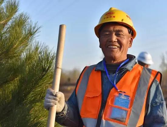 勤劳的植树工人。