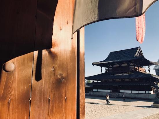 日本第一个世界遗产建筑 法隆寺大殿外景