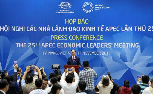 11月11日,在越南岘港,亚太经合组织第二十五次领导人非正式会议主席、越南国家主席陈大光出席会议闭幕记者会。(新华社)