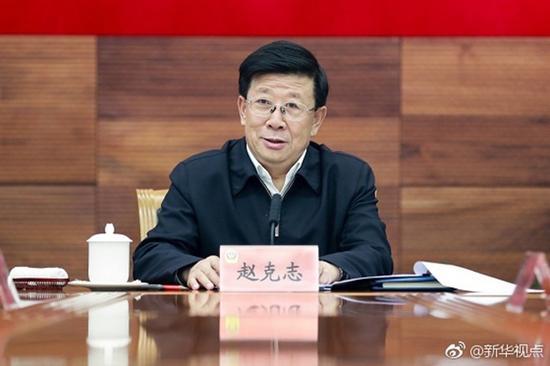 赵克志 微博@新华视点 资料图中国长安网领导机构一栏显示,公安部党委书记、部长赵克志已出任中央政法委委员。