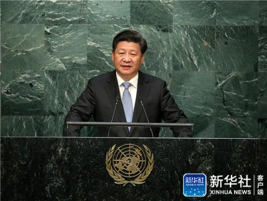 2015年9月28日,习近平在纽约联合国总部出席第70届联合国大会一般性辩论并发表题为《携手构建合作共赢新伙伴 同心打造人类命运共同体》的重要讲话。新华社记者 庞兴雷 摄