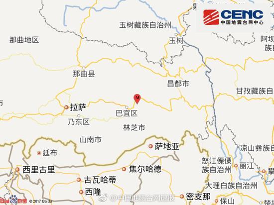 西藏林芝市巴宜区发生3.1级地震 震源深度5千米