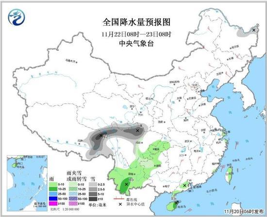 图3 天下降水量预告图(22日08时-23日08时)