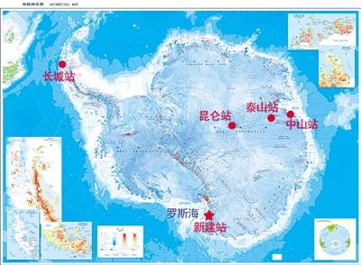 中国南极科考站分布示意图