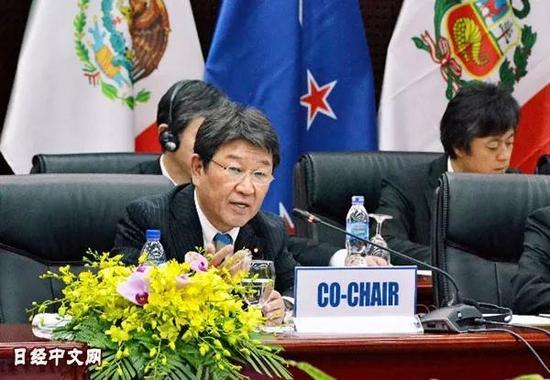 ▲11月9日,日本经济再生继承大臣茂木敏充在TPP部长级集会上。