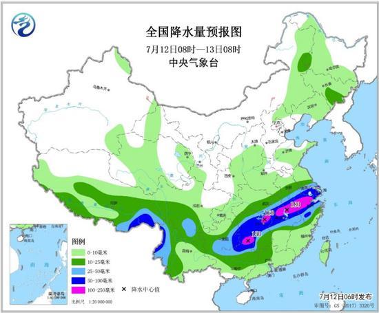 全国降水量预报图(7月12日08时-13日08时) 来源:中央气象台