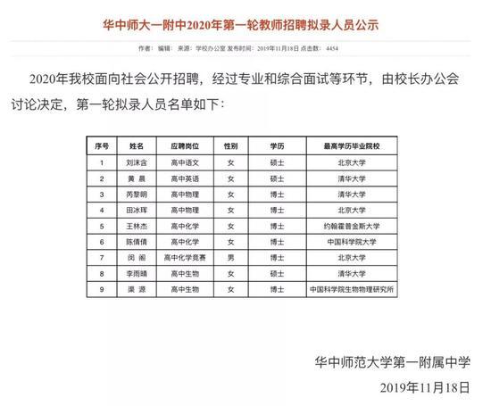 这所中学招9名老师 6人来自北大清华大部分是博士|北大清华|附属中学