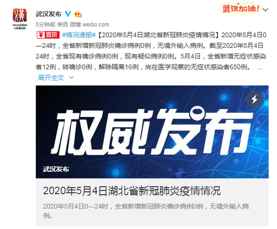 [摩天代理]20年5月4日湖北省新冠肺炎摩天代理图片
