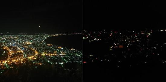 视频:日本6.9级地震致停电 世界第三大夜景瞬间