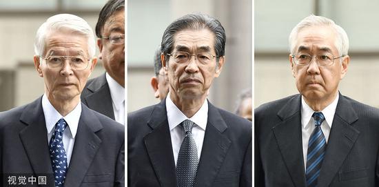东京电力公司3名前下管,胜俣长久(左)、武乌一郎(中)、武藤枯(左)。图/视觉中国
