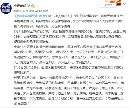 北京连续两天0新增 昨日治愈出院病例13例图片