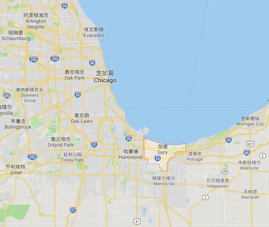 加里市位于芝加哥西北约40公里(谷歌地图)