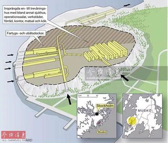 ▲穆斯克公开水师基天的占空中积达1.5万仄圆米, 堪比40个瑞典王宫,图为该基天的散布表示图,可睹多个公开船厂。
