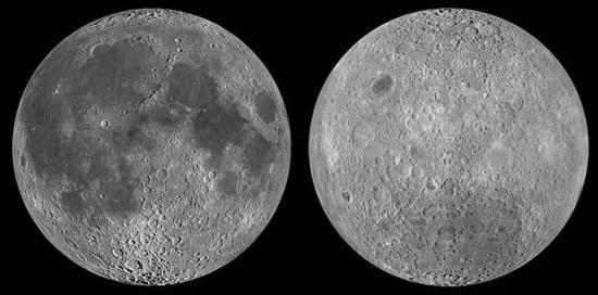 人类在地球上永远只能看到的月球正面(左)和看不全的背面(右)(图片来源于NASA)
