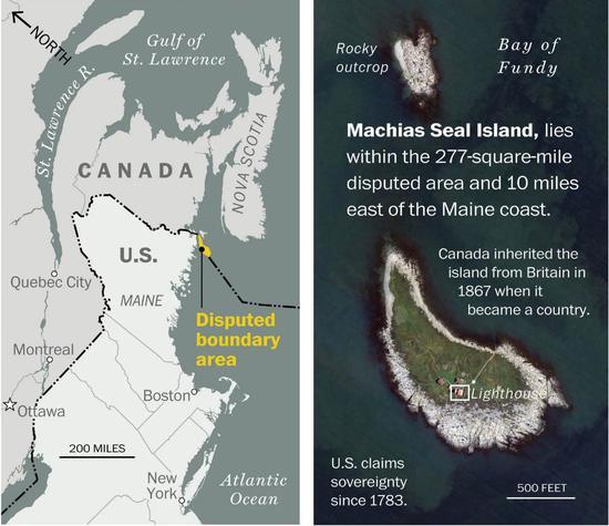 ▲马柴厄斯海豹岛位置示意图(美国《华盛顿邮报》)