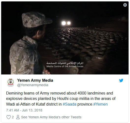 也门政府军通过社交媒体发布消息