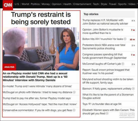 CNN頭條位置