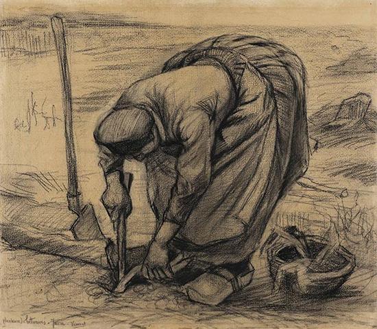 梵高,《种红菜头的农妇》,1885,成交价格:3,612,500美元