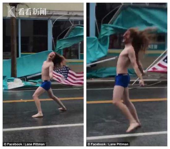 美国男子专门前往飓风登陆地 举国旗半裸站立(图)