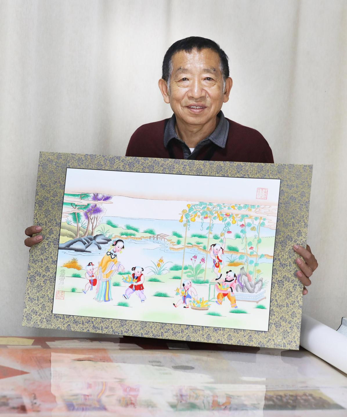 木版印绘四时春秋 河堤古镇藏精美年画