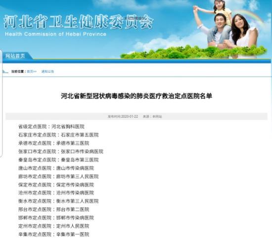 今日(1月22日),河北省卫生健康委员会公布河北省新型冠状病毒感染的肺炎医疗救治定点医院名单。来源:河北省卫健委官网截图