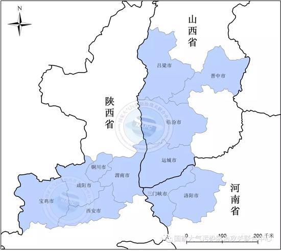 汾渭平原11城市地理位置图 本文图片均来自国家大气污染防治攻关联合中心微信公众号
