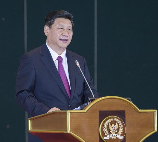 2013年10月3日,国度主席习近平在印度尼西亚国会揭晓题为《联袂建立中国-东盟运气配合体》的主要演讲。新华社记者王晔摄
