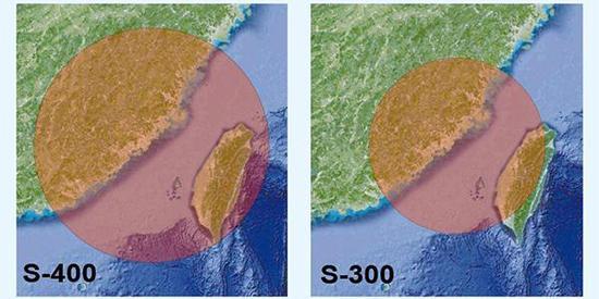 台湾地区媒体制作的S-300与S-400射程范围比较图。可见,假如S-400部署在福建泉州,其射程理论上几乎可覆盖整个台湾岛上空。