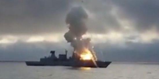 """德国海军""""萨克森""""号护卫舰发生导弹发射事故。"""