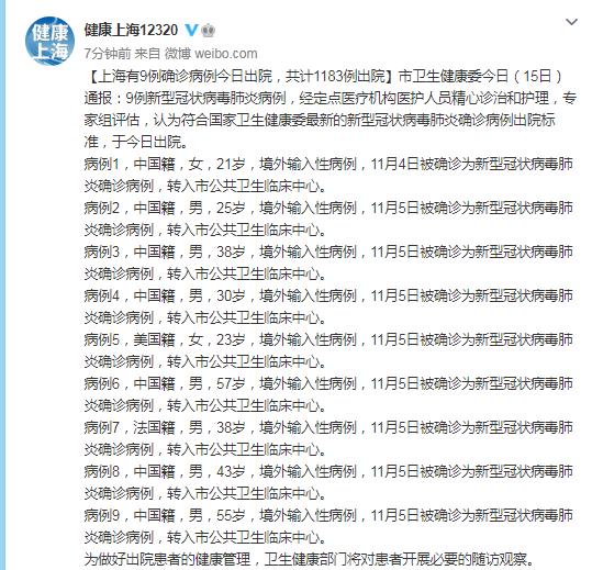 上海有9例确诊病例今日出院,共计1183例出院图片