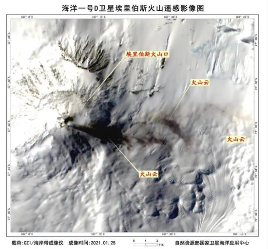 """首次!海洋一号D卫星""""捕捉""""到南极埃里伯斯火山喷发图片"""