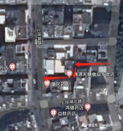 ▲红色箭头疑似阮汉平逃跑路线。  卫星图片