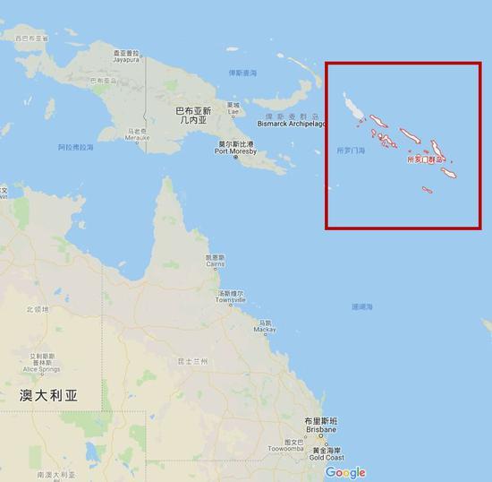 所罗门群岛位于澳大利亚东北方向 图源:谷歌地图