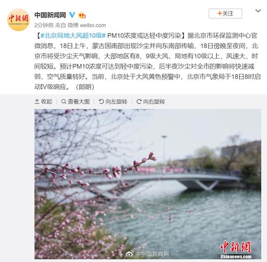 北京局地大风超10级 PM10浓度或达轻中度污染图片
