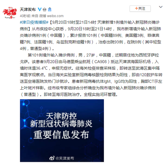 9月20日18时至21日14时 天津新增1例境外输入确诊病例