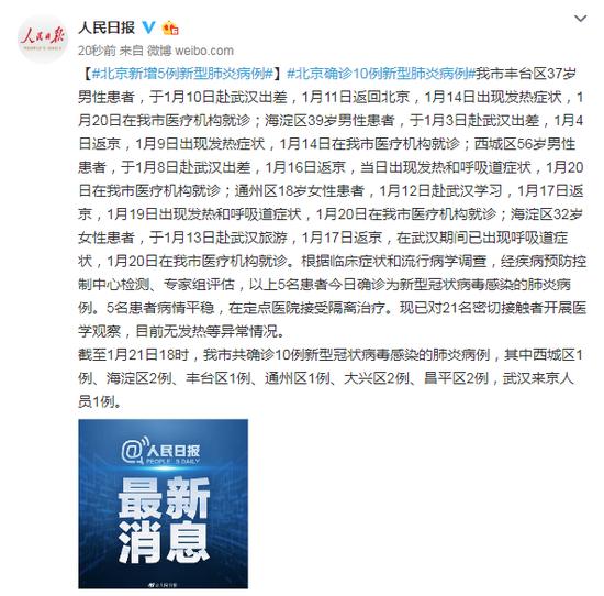 北京新增5例新型肺炎病例 均有赴武汉经历