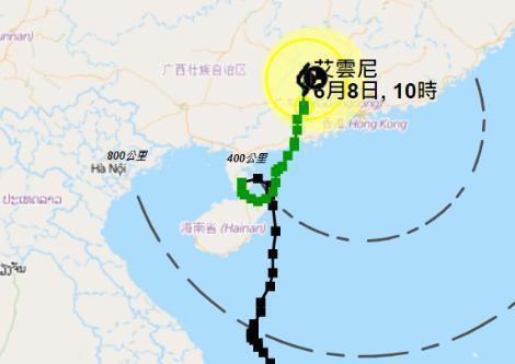 """热带风暴""""艾云尼""""路径图。来源:明报新闻网。"""