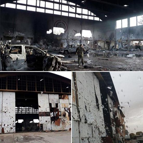 伊朗在叙利亚境内的目标遭到攻击,可见损毁严重。
