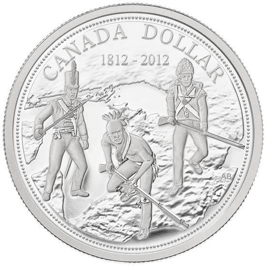 """加拿大发行的1812年战争纪念币,主题为英国正规军、加拿大民兵、第一民族(印第安人)战士联手作战,尽管纪念主题不断变迁,但1812年战争的""""立国之战""""地位仍然不可动摇"""